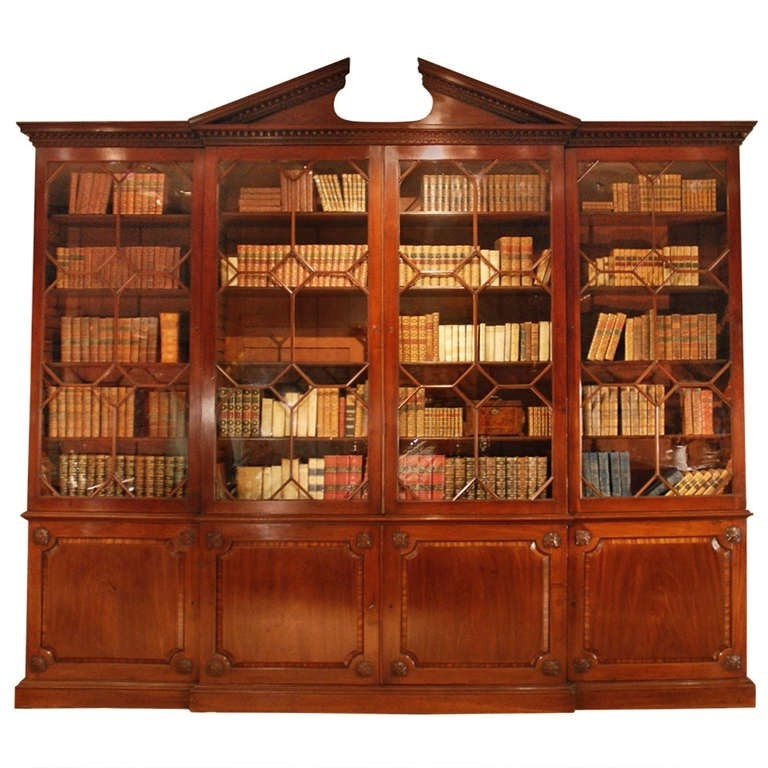 18th Century Architectural Mahogany Breakfront Bookcase, Circa Pertaining To Fashionable Break Front Bookcases (View 5 of 15)