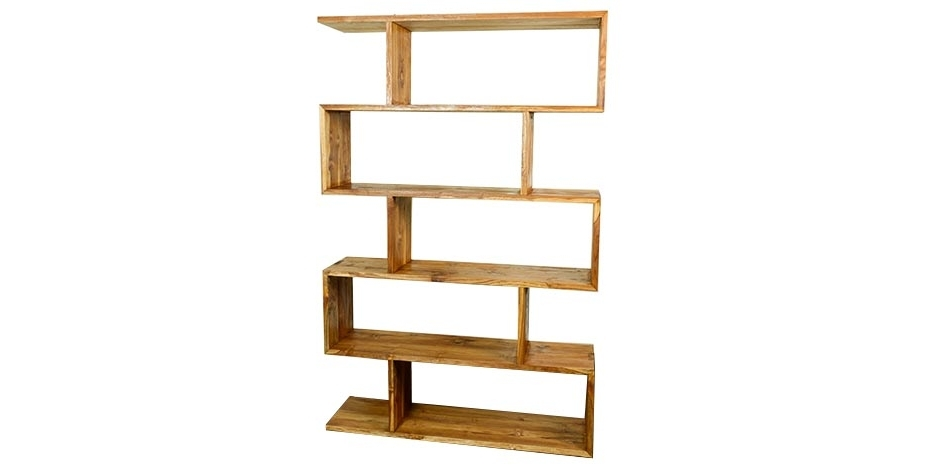 2017 Contemporary Teak Bookshelf Zigzag Staggered Modern Natural Timber With Regard To Zig Zag Bookcases (View 1 of 15)
