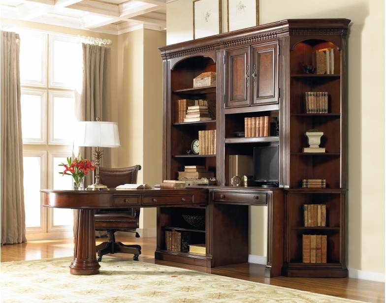 2017 Desk With Bookcases Regarding European Renaissance Ii Pedestal With Bookcase Desk Suite Hooker (View 1 of 15)