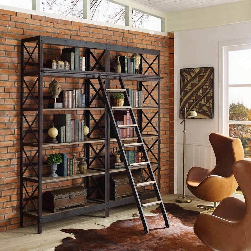 2017 Metal And Wood Bookcases With Regard To Modway Headway Wood Stand / Shelving Unit In Brown Pine & Metal (View 1 of 15)
