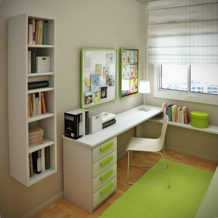 2018 Beautiful White Brown Wood Grey Glass Modern Design Small Spaces Regarding Study Shelving Ideas (View 8 of 15)