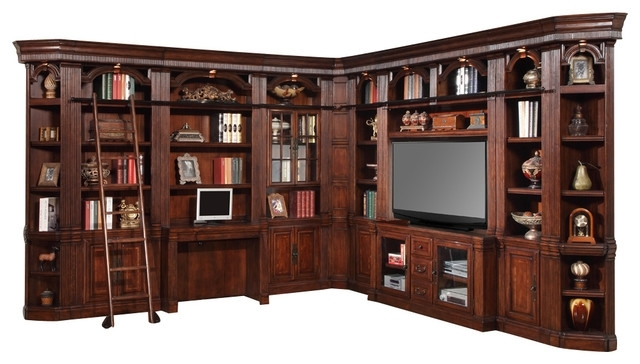 """2018 Bookcases Library Wall Unit Throughout 10 Piece Wellington 60"""" Library Wall Unit, Mahogany – Traditional (View 12 of 15)"""