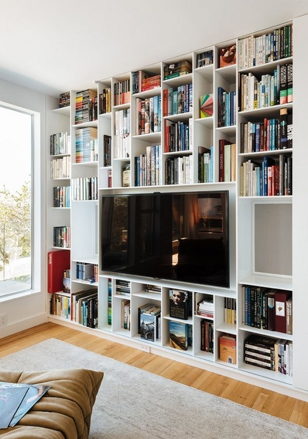 2018 Bookcases With Tv Shelf Within Enchanting Wall Units Glamorous Bookcase With Tv Shelf At Stand (View 1 of 15)