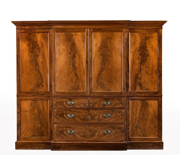 2018 George Iii Period Mahogany Breakfront Wardrobe With Beautifully Throughout Mahogany Breakfront Wardrobes (View 1 of 15)