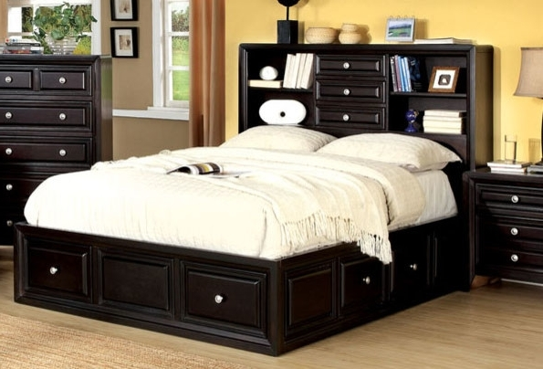 2018 Queen Storage Bed With Bookcase Headboard #573 Within Storage Bed With Bookcases Headboard (View 2 of 15)