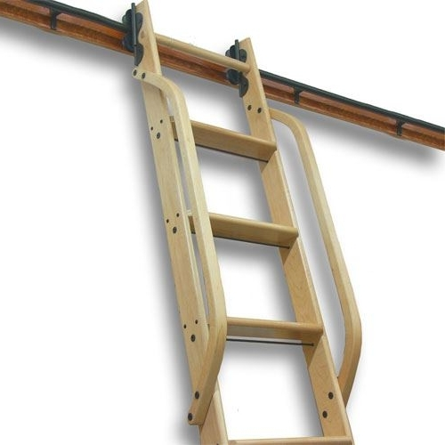 2018 Quiet Glide Wooden Library Ladder Hand Rail Pertaining To Wooden Library Ladders (View 4 of 15)