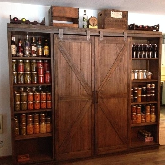 2018 World Market Bookcases Throughout Wood Farmhouse Barn Door Bookcase World Market Pantry And (View 1 of 15)