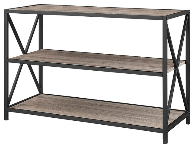 "40"" X Frame Metal And Wood Media Bookshelf – Industrial Inside Favorite Metal Bookcases (View 1 of 15)"