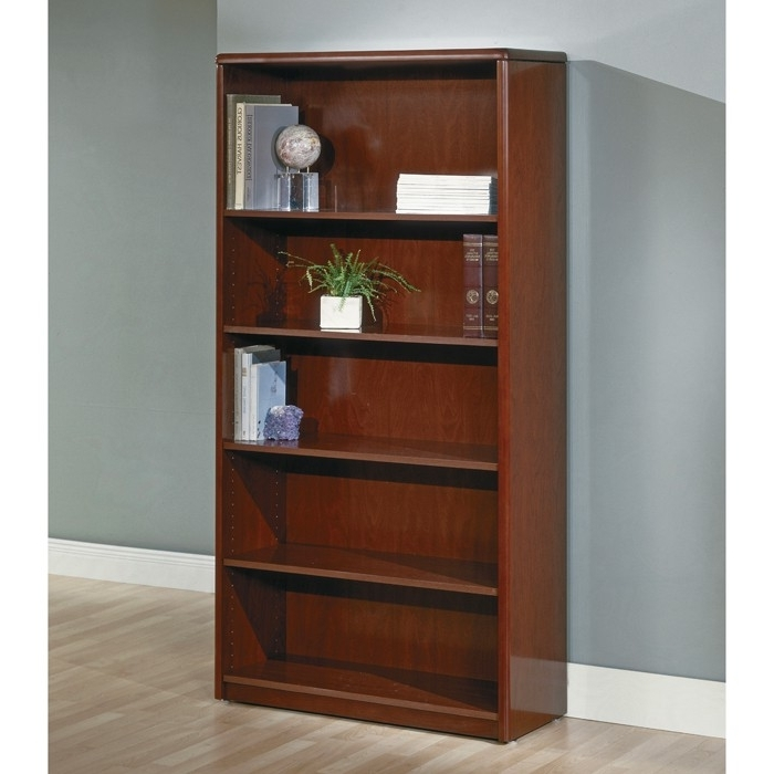 5 Shelf Bookcases Intended For Fashionable 5 Shelf Bookcase, 70 Inch, Dark Cherry Wood (Gallery 7 of 15)
