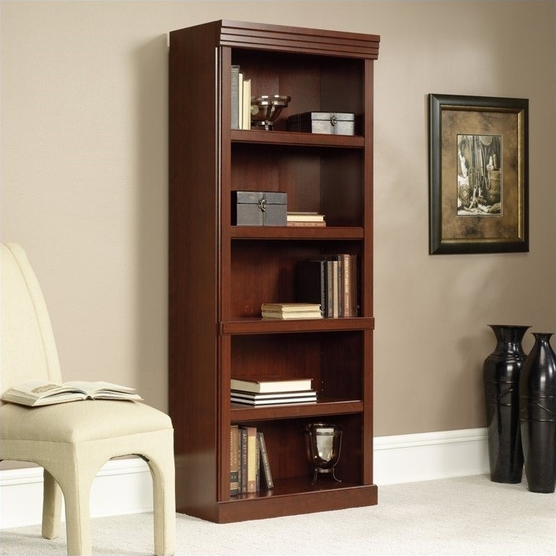 5 Shelves Bookcase In Classic Cherry – 102795 Throughout Latest 5 Shelf Bookcases (View 5 of 15)