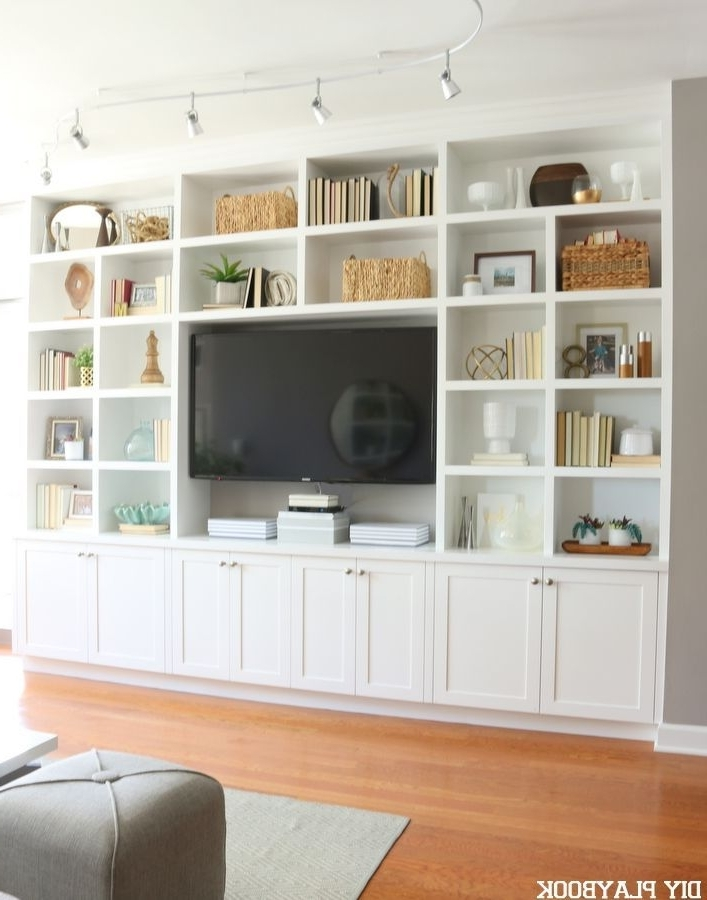 A Chicago Condo Tour Full Of Glamorous And Feminine Accents With Well Liked Built In Bookcases With Tv (View 2 of 15)