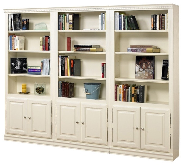 A & E Wood Design – Hampton Tall 3 Pc Bookcase Wall W Doors In For Popular Off White Bookcases (View 12 of 15)