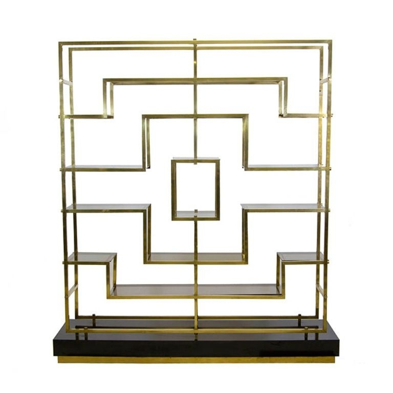 A Geometric Brass And Glass Bookcaseromeo Rega (View 2 of 15)