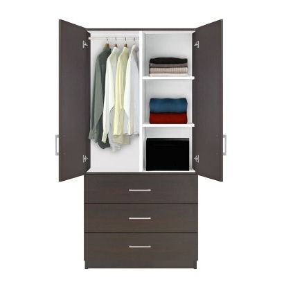 Alta Wardrobe Armoire – 3 Drawer Wardrobe, Shelves, Hangrod Pertaining To Widely Used Wardrobes With Shelves And Drawers (View 3 of 15)