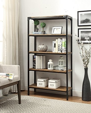 Amazon: 5 Tier Vintage Brown Industrial Look Black Metal Within Well Liked Heavy Duty Bookcases (View 2 of 15)