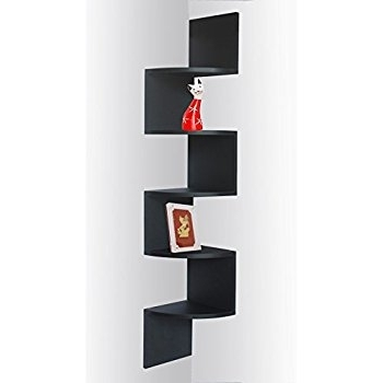 Amazon: Black Finish Corner Zig Zag Wall Shelf: Kitchen & Dining Throughout Most Recent Zig Zag Bookcases (View 2 of 15)