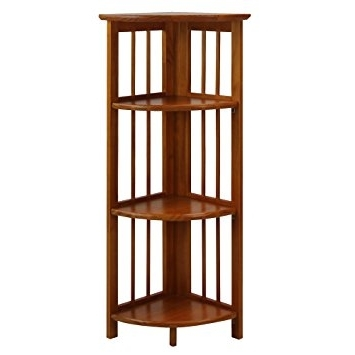 Amazon: Casual Home 315 15 4 Shelf Corner Folding Bookcase With Regard To Well Known Corner Oak Bookcases (View 9 of 15)