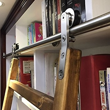 Amazon: Diyhd 6Ft Stainless Steel Sliding Library Ladder Inside Most Recently Released Sliding Library Ladder (View 2 of 15)