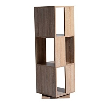 Amazon: Homcom 3 Tier Rotating Bookshelf – Oak: Kitchen & Dining Regarding Most Popular Rotating Bookcases (View 6 of 15)