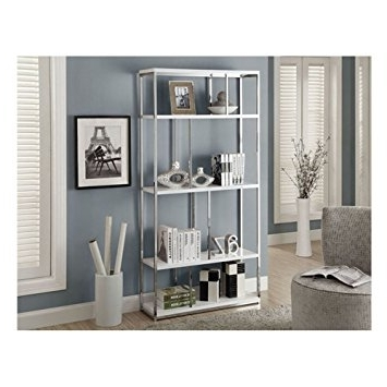 Amazon: Monarch Chrome Metal Bookcase, 72 Inch, Glossy White With Regard To Widely Used Monarch Bookcases (View 3 of 15)