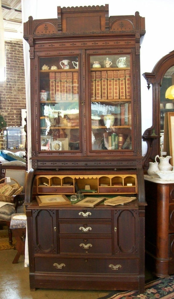 Antique 1870S Walnut Victorian Eastlake Cylinder Top Secretary Inside Well Known Secretary Bookcases (View 2 of 15)