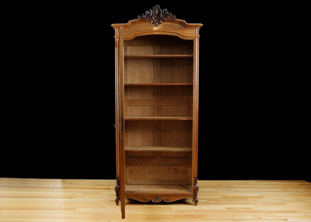 Antique Bookcases Throughout Well Known French Antique Bookcase In Walnut With Glass Panel – Bonnin Ashley (View 6 of 15)