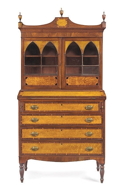 Antique Drop Front Secretary Desk With Bookcases In Newest Antique Furniture Desk, Bookcase, Breakfront (View 4 of 15)
