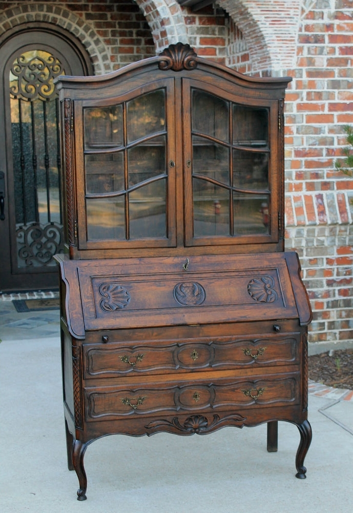 Antique French Oak Louis Xv Style Secretary Fall Front Desk With Famous Secretary Bookcases (View 8 of 15)