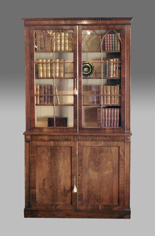 Antique Rosewood Bookcase, Bookcase Cabinet, Regency Bookcase With Favorite Bookcases With Cupboard (View 1 of 15)