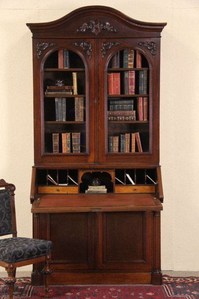 Antique Secretary Desk With Bookcases With Trendy Sold – Victorian 1860 Antique Walnut Secretary Desk & Bookcase (View 6 of 15)