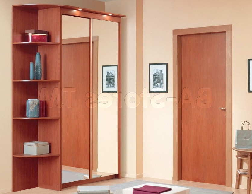 Baikal Mirror Sliding Doors Wardrobe With Corner Shelf In Cherry With Regard To Famous Wardrobes With Shelves (View 1 of 15)
