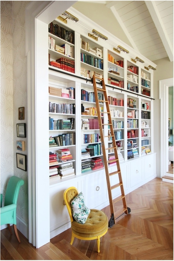 Beautiful Built In Bookcases With Ladder (View 1 of 15)
