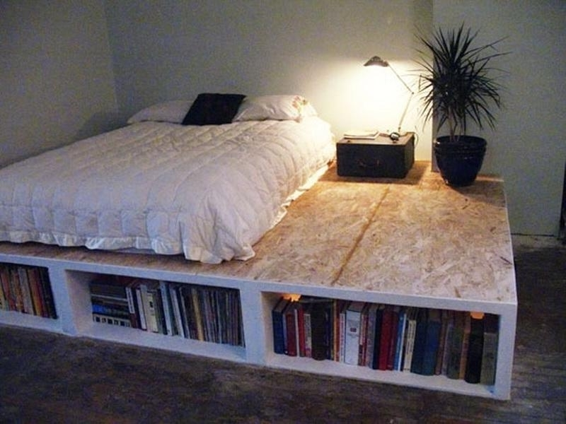 Bed Frame Bookcases For Best And Newest Diy Bed Frame With Bookcase Ideaskind Of Like This, But No (View 6 of 15)