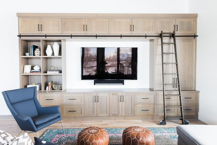 Beige Living Room Built In Bookcase With Ladder On Rails – Country For Newest Built In Tv Bookcases (View 2 of 15)