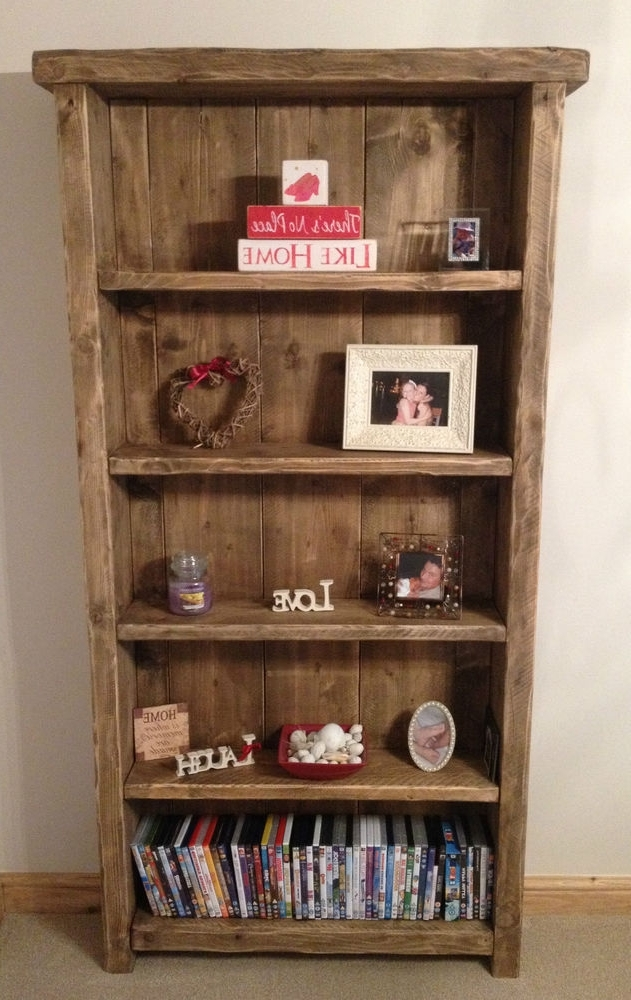 Bespoke Handmade Rustic Farmhouse Style Wooden Bookcase (View 3 of 15)
