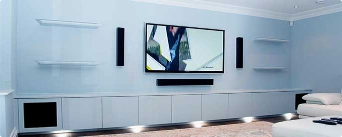 Bespoke Tv Stands Regarding Recent Fitted Living Room Cinema Av Cabinet Powder Blue (View 3 of 15)