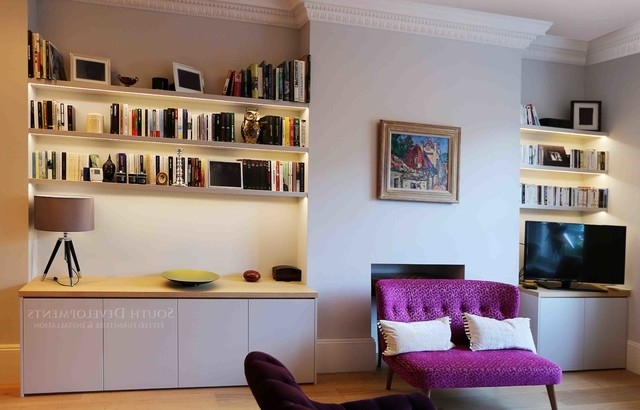 Bespoke Tv Unit Regarding 2017 Bespoke Tv Unit (cupboards & Shelving) With Integrated Led (View 9 of 15)