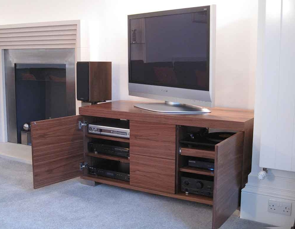 Bespoke Walnut Av Cabinet Contemporary Tv Stand Unit Audinni Regarding Current Bespoke Tv Stand (View 6 of 15)