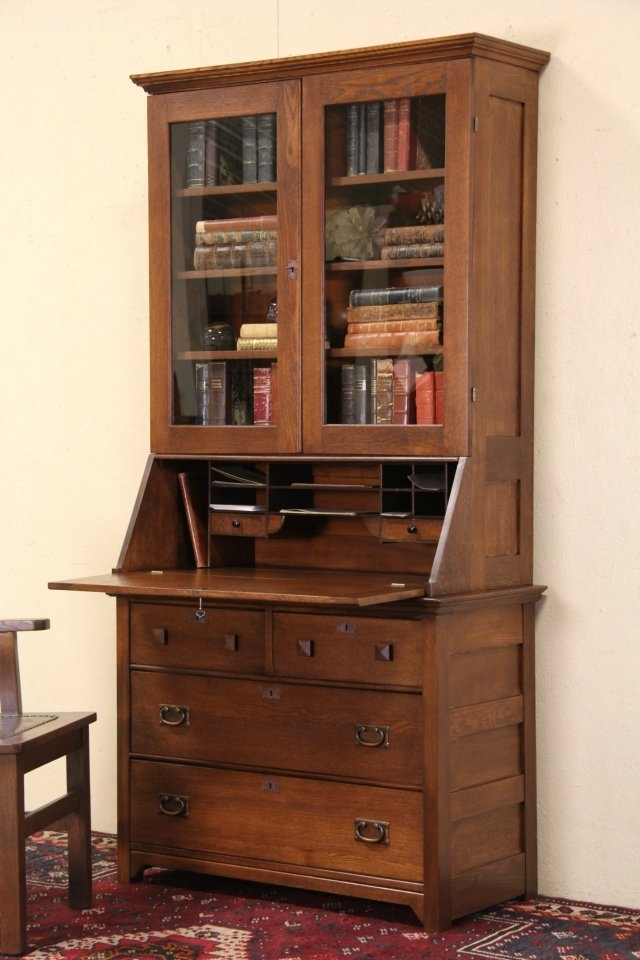 Best And Newest Antique Secretary Desk With Bookcases For Sold – Oak 1900 Antique Secretary Desk & Bookcase, Glass Doors (View 8 of 15)