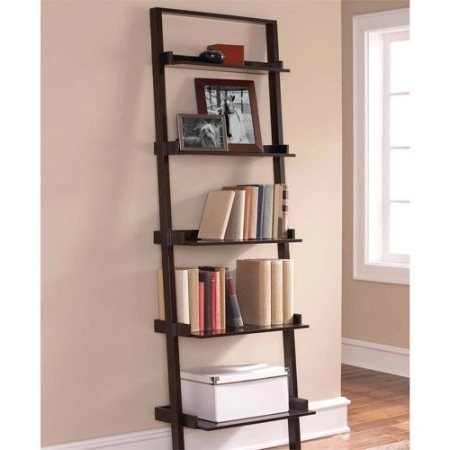 Best And Newest Bookcases Ideas: Mainstays Leaning Ladder 5 Shelf Bookcase With Regard To Espresso Bookcases (View 2 of 15)