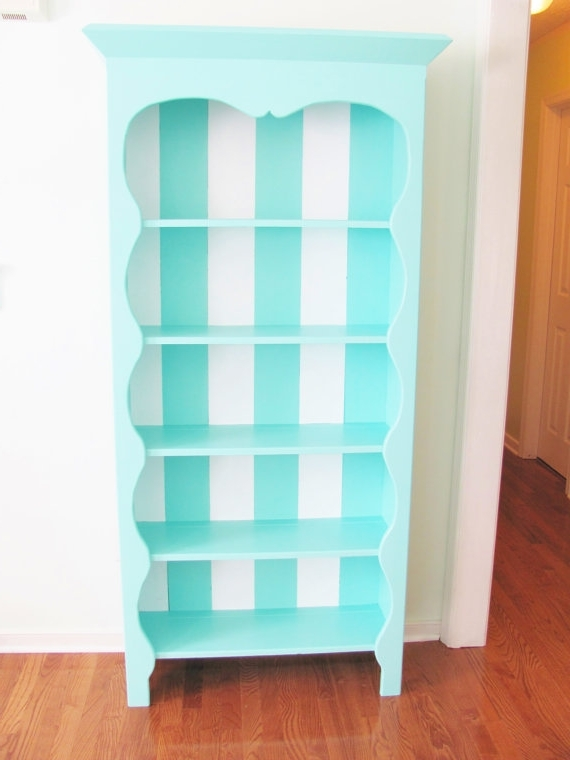 Best And Newest Hand Painted Bookcases With Regard To Reserved Hand Painted Bookcase Striped Turquoise And White (View 3 of 15)