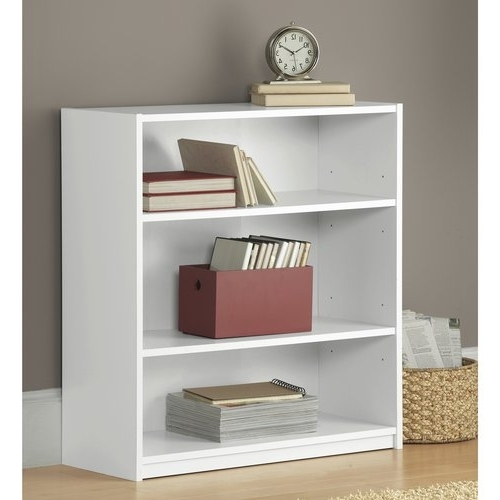 Best And Newest Mainstays 3 Shelf Wood Bookcase, Multiple Colors (View 2 of 15)