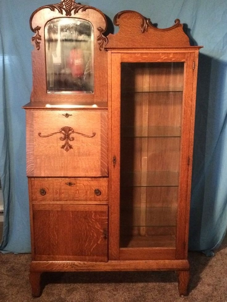Best And Newest Secretary Bookcases Regarding Antique Oak Secretary Desk With Bookcase Glass Side Beveled (View 4 of 15)