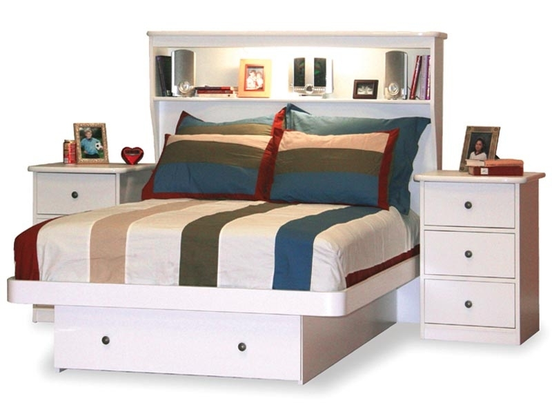 Best Full Size White Storage Bed With Bookcase Headboard 76 For Throughout Favorite Headboard Full Bookcases (View 3 of 15)
