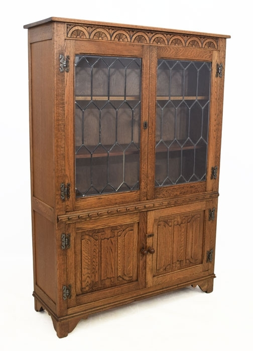 Bi: Vintage Oak Glazed Bookcase Br91 160917 421 25 With Recent Oak Glazed Bookcases (View 4 of 15)
