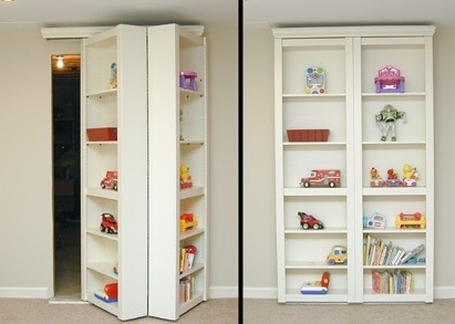 Bifold Bookcases With Well Known Love The Idea Of Turning Our Closet Doors Into Bookshelves To (View 5 of 15)