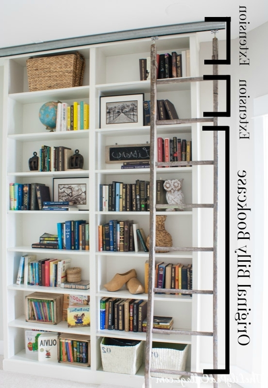 Billy Bookcase Hack With Library Ladder – The Lilypad Cottage Within Best And Newest Library Wall Bookshelves (View 7 of 15)