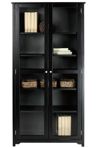 "Black Bookcases With Glass Doors With Regard To Best And Newest Amazon: Oxford 72""h Bookcase With Glass Doors, Six Shelf/ (View 8 of 15)"