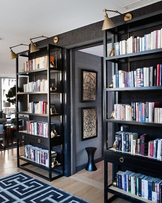 Black Bookcases With Regard To Well Liked Latest Black Bookshelves Black Bookcase, Antique Brass And (View 9 of 15)