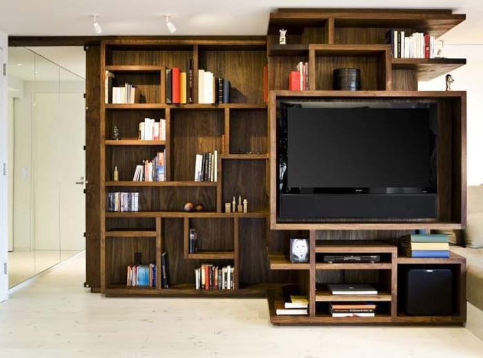 Book Case Tv With Regard To Trendy Lovable Small Apartment Couch Ideas Apartment Bookcase Tv Small (View 6 of 15)